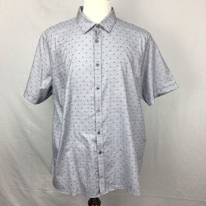Ted Baker Gray Jamshor Spotted SS Collar Shirt